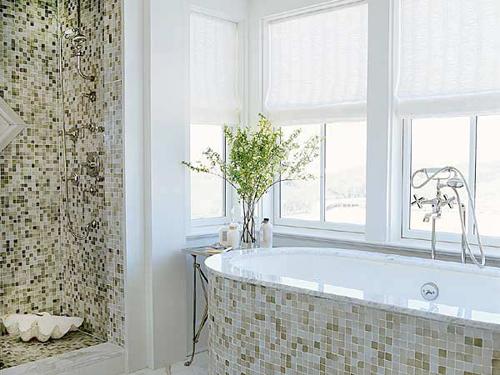 Decorando banheiros com pastilhas -> Banheiro Pequeno Com Pastilhas Claras