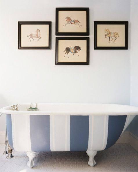 Banheiras com pinturas externas